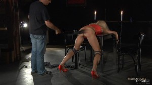 bondage table bdsm whipping blonde slave