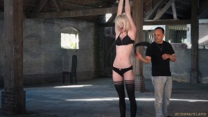 bdsm skinny slave blonde slave whipping black stokings