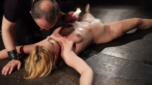 bdsm bondage blonde girl hot wax