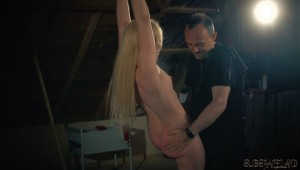 Blonde slave spanking