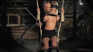 blindfolded blond slave